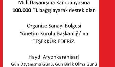 """""""Milli Dayanışma Kampanya""""sına OSB'den destek"""