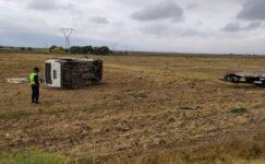 İnşaat işçilerini taşıyan minibüsü devrildi: 7 yaralı